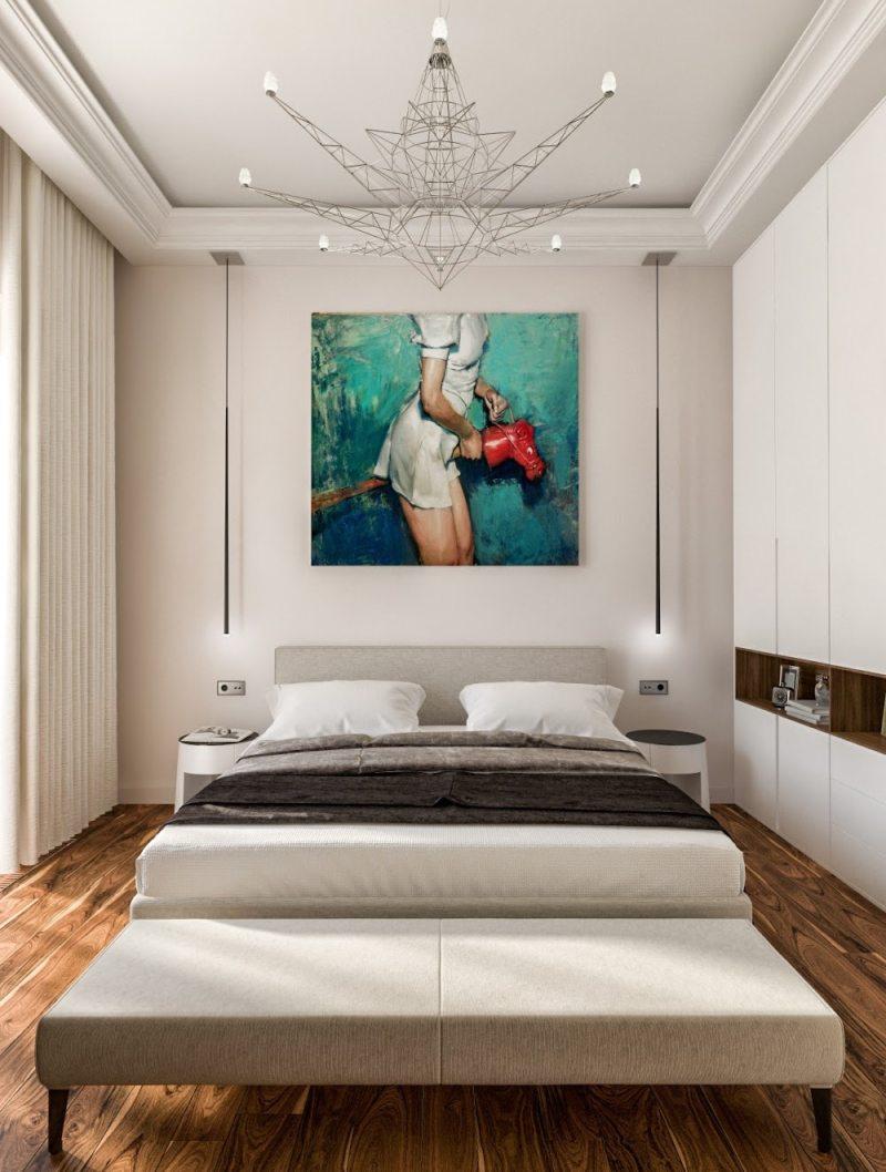 Спальня в однокомнатной квартире (53)