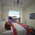 Спальня в однокомнатной квартире (57)
