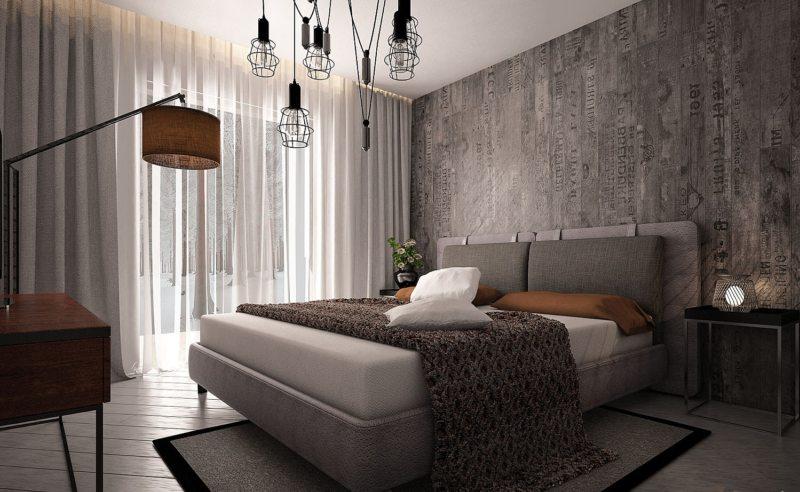 Спальня в однокомнатной квартире (58)
