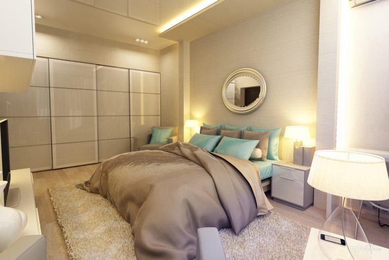 Спальня в однокомнатной квартире (7)