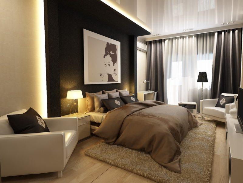 Спальня в однокомнатной квартире (9)
