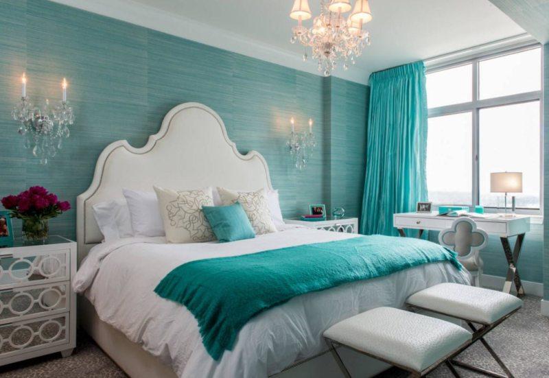 Спальня бирюзовая дизайн