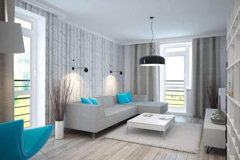 Дизайн для маленькой гостиной в бирюзовом цвете