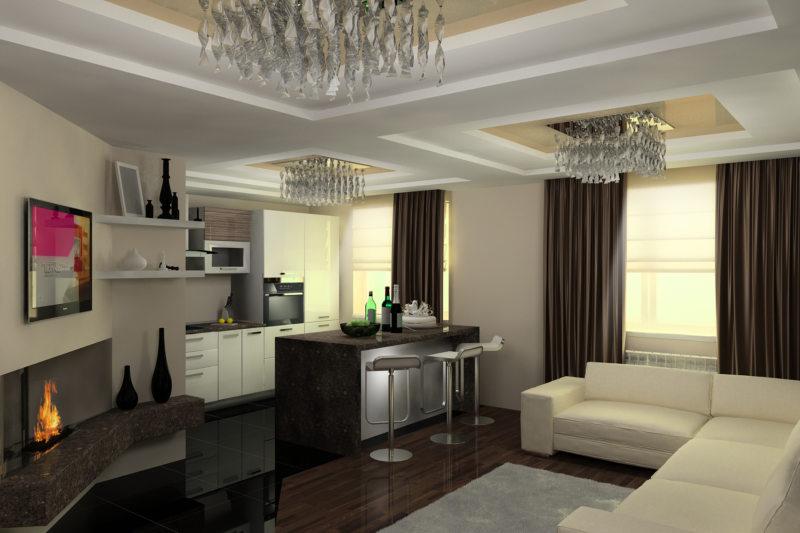 гостинная совмещенная со спальней (35)