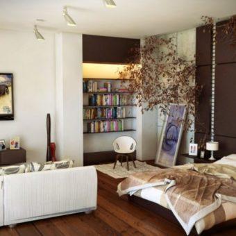 Дизайн гостиной-спальни — как совместить два интерьера? 80 фото необычных идей зонирования.