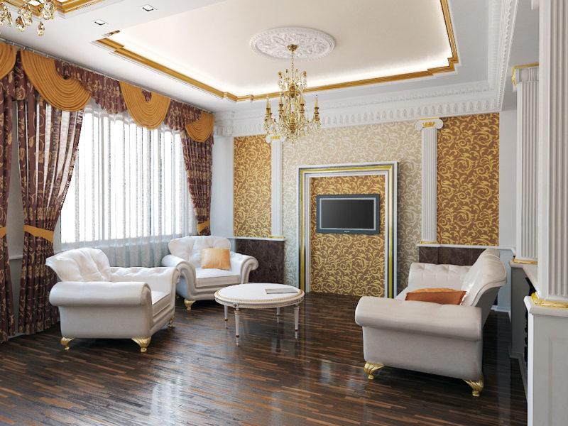 гостинная в золотом цвете (34)