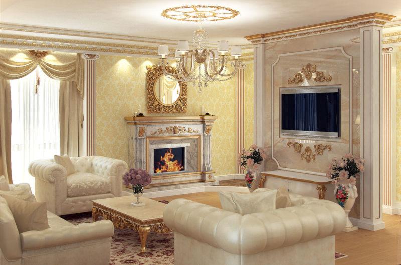 гостинная в золотом цвете (48)