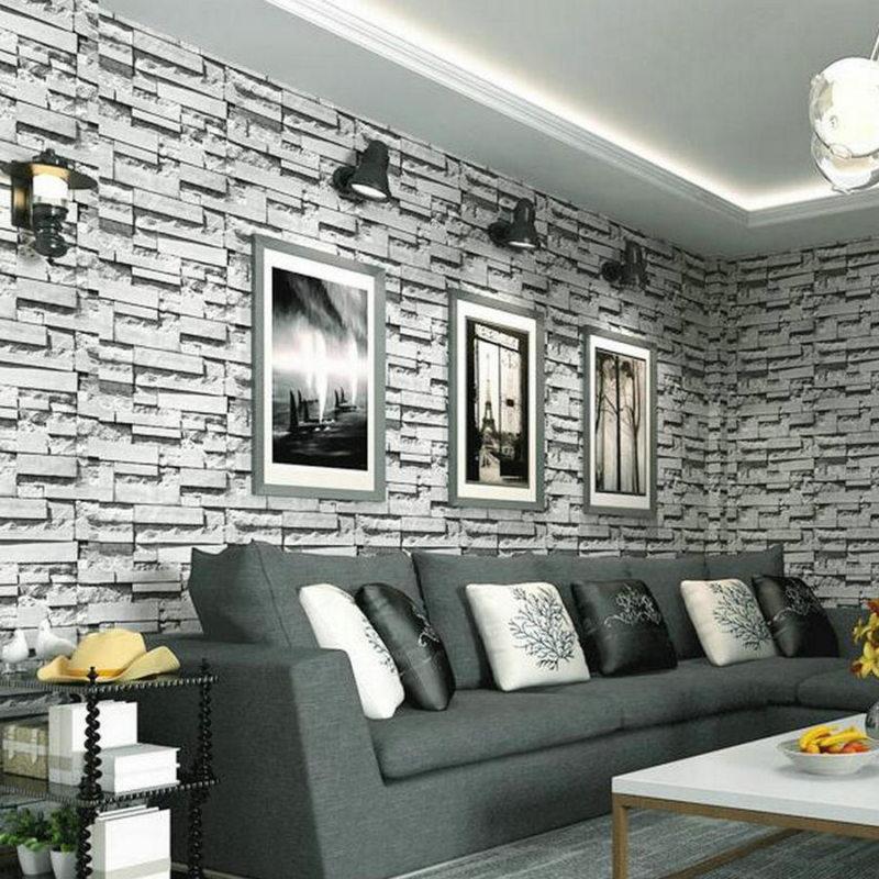 Серый кирпич в интерьере гостиной