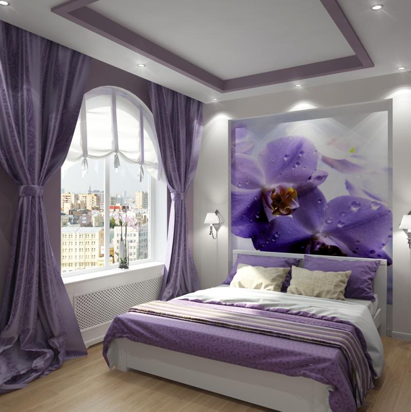обоев в спальне комбинирование фото