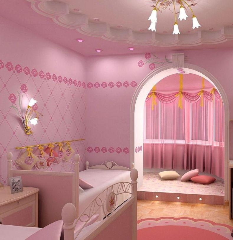 Дизайн-детской-для-девочки-в-розовых-тонах-с-аркой-и-подвесным-потолком