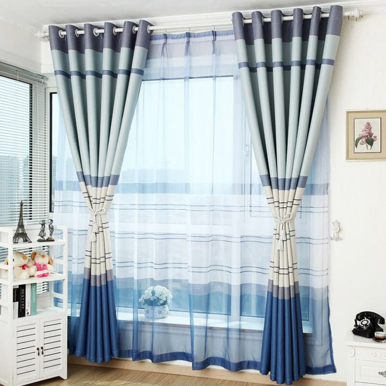 Blue-Neat-Modern-Ready-Made-Bedroom-Striped-Curtains-CMT18299-1