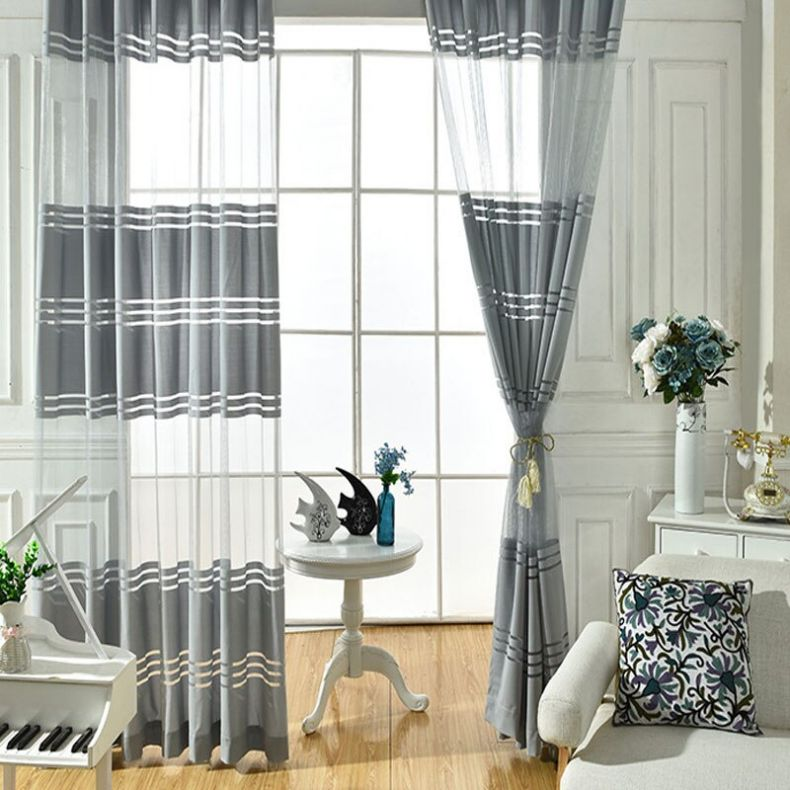 Luoshana-Modern-New-Style-Grey-White-Translucidus-Tulle-Horizontal-Stripes-Patterns-Curtains-For-Living-Room-Bed