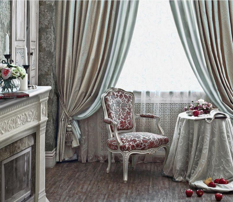 шторы из атласа в гостиную