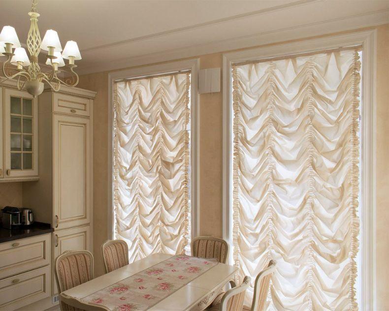 французские шторы на кухню фото