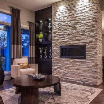 Оформление стен декоративным камнем в интерьере квартиры (100+ фото)