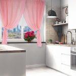 шторы розовые короткие на кухню