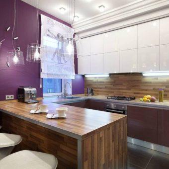 дизайн современной угловой кухни с барной стойкой