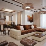 коричневые шторы в гостиную фото