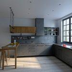 кухня сочетание металл и дерево фото