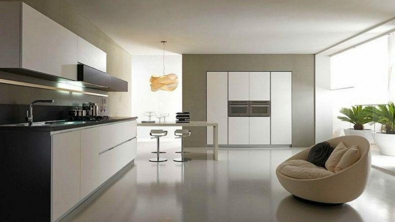 большая кухня в стиле минимализм фото