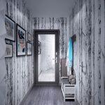 светлый узкий коридор обои