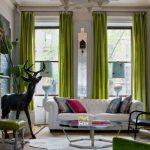 зеленые шторы для гостиной как сочетать фото