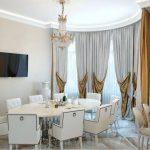 классические шторы кухонная и обеденная зона